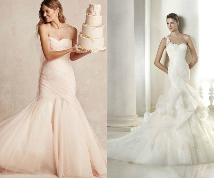 Vestidos de novia corte sirena con colores suaves y maxi volantes - Fotos de Monique Lhuillier y St. Patrick