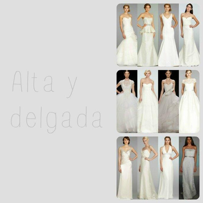 Si eres alta y delgada, los vestidos de novia de corte sirena, princesa y de línea recta te quedarán espectaculares - Foto Zankyou