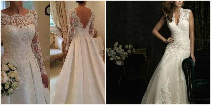 Créditos: foto izquierda de Fabiola y María Luisa Comercializadora Ltda/ foto derecha de Firenze Novias