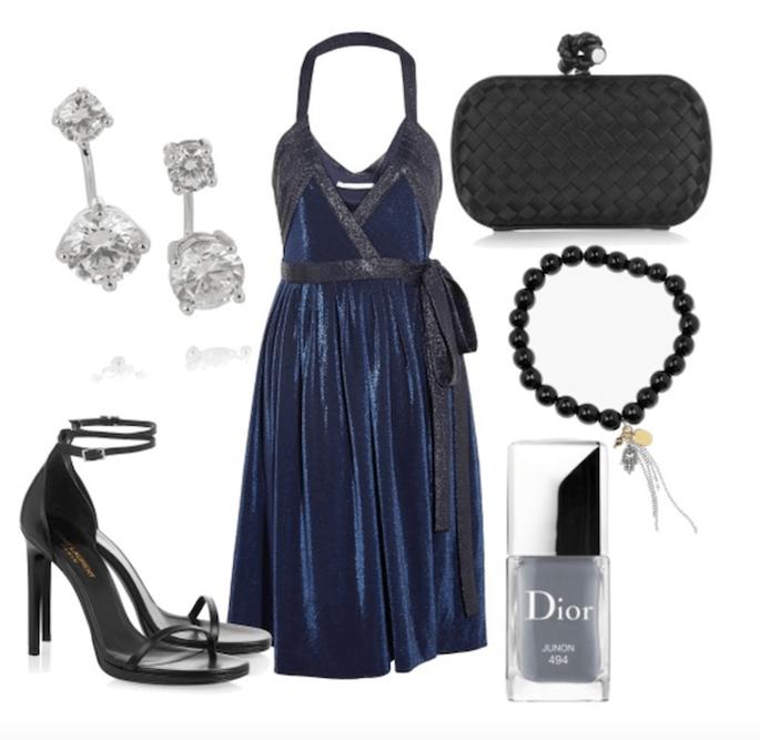 Vestido de Diane von Furstenberg, zapatos de YSL, aretes de Kenneth Jay Lane, clutch de Bottega Veneta, esmalte de Dior