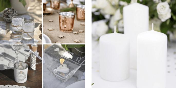 Bougeoirs et Bougies décoratives blanches 6 pièces
