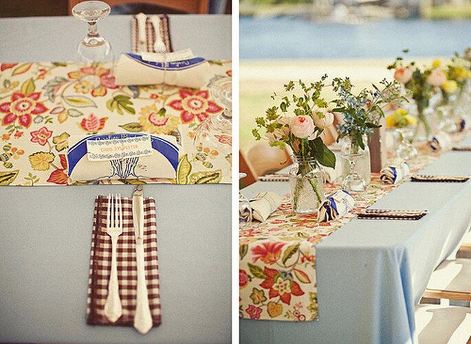 Centros de mesa para boda. Foto de One Love Photo.