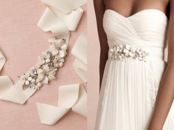 tendencia en cinturones de pedrería para vestido de novia