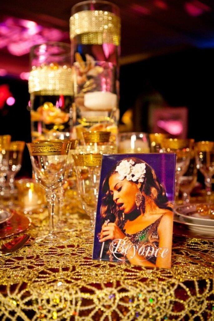 Mesa de boda decorada al estilo de Beyoncé - Foto: Floramor Studios Facebook