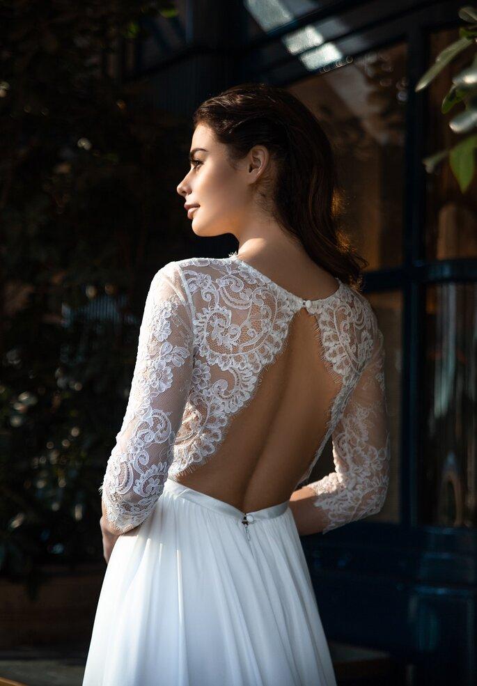 SELESTIA, robe de mariée dos nus et manches longues, haut en dentelle