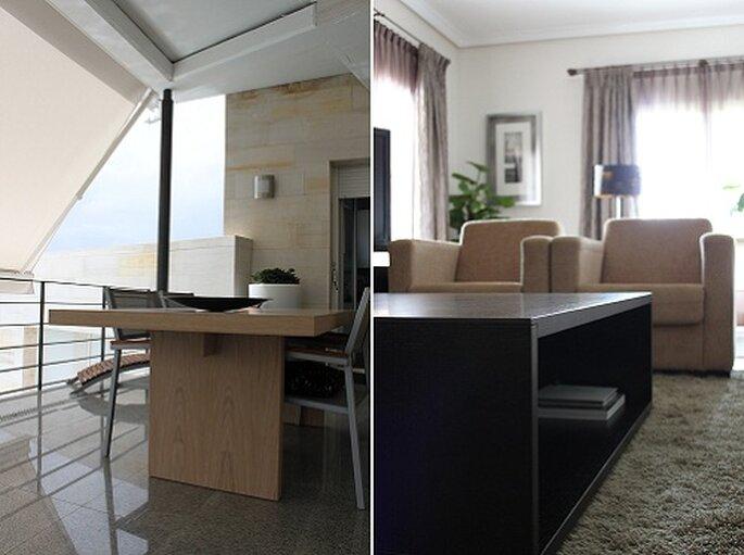Mesa comedor Dolmen (izqda.) y mesa centro Espada (dcha.). Foto: Estudio41.