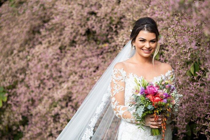 Foto noiva com buquê