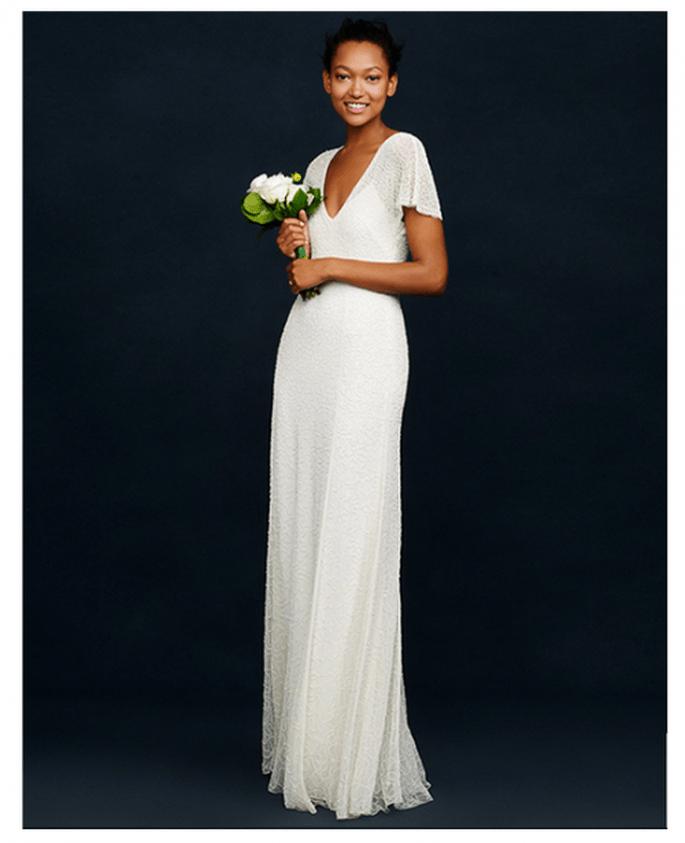 Vestido de novia con cuello uve y mangas cortas holgadas - Foto JCrew