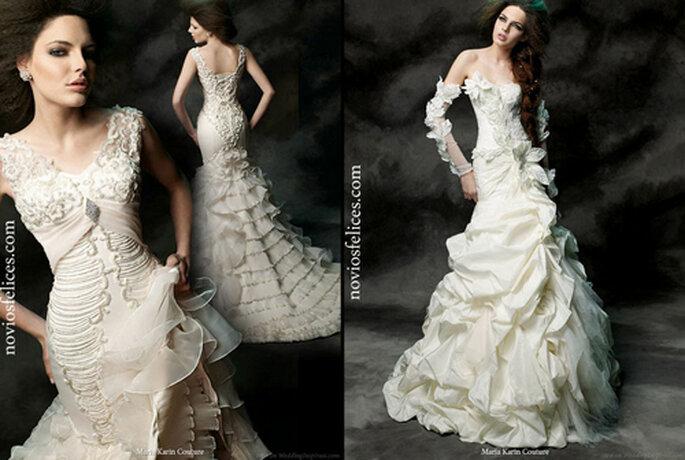 Due modelli a sirena di Maria Karin Haute Couture 2012 con radiosi dettagli 3D, anche nei lunghi guanti. Foto: noviosfelices.com