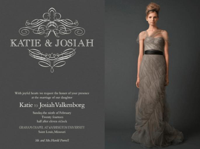 Invitación de boda inspirada en el vestido de novia modelo Gracie - Foto Vera Wang