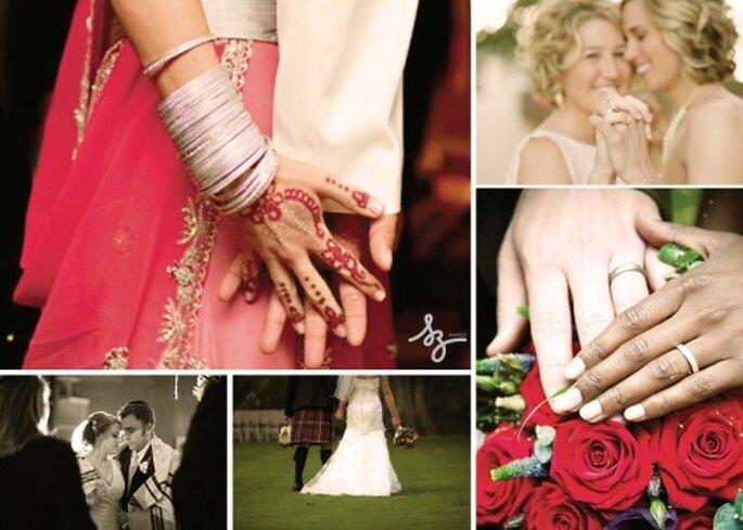 Collage de boda multicultural. Fotos de  Delovelyaffair, Onabicyclebuiltfortwo, Theweddingyentas