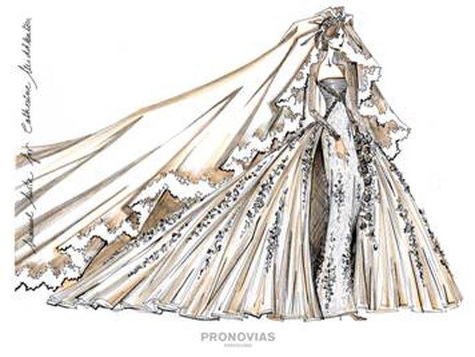 Propuesta 1 para Kate Middleton, diseñado por Manuel Mota para Pronovias