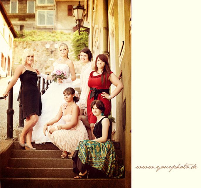 Nach amerikanischem Vorbild hat die Braut eine Hand voll Brautjungfern.
