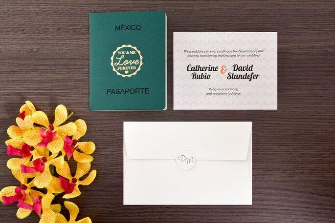Tarjeta de matrimonio en forma de pasaporte