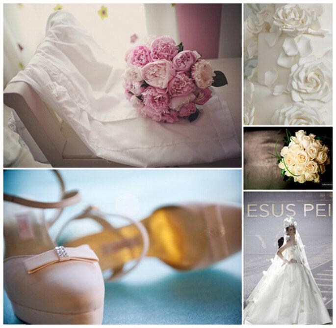 Vestido de novia de Jesús Peiró. Ramos de flores de novias reales fotografiados por Fran Russo y Walter Carrera. Zapatos en rosa con detalles de cristales, fotografiados por Patricia Figuera.