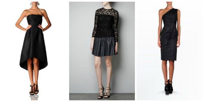 Due proposte di Alberta Ferretti ed al centro un abito in pizzo ed ecopelle di Zara