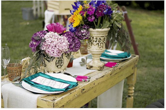 Decoración de boda rústica inspirada en Van Gogh - Foto Damaris Mia