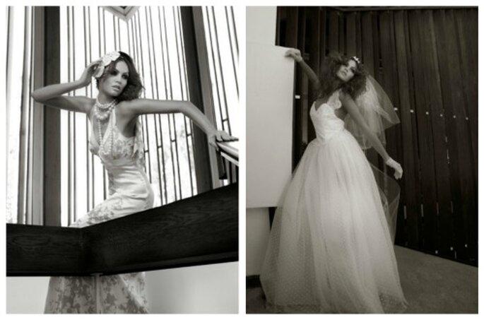 Las modelos suelen llevar los vestidos de novia llenos de alfileres y pinzas por detrás