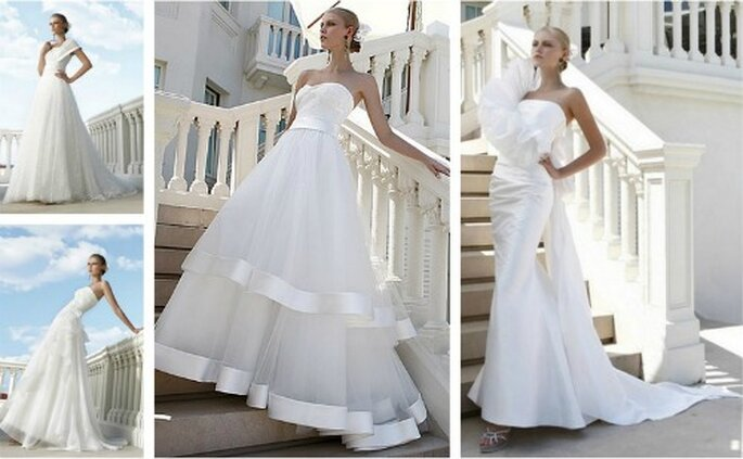 Anche il classico abito da sposa bianco viene rivisitato con un tocco di eccentricità che contribuisce a renderlo unico.