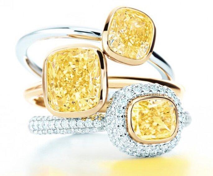 Anillos de compromiso con diamantes amarillos de moda en 2013 - Foto Tiffany & Co.