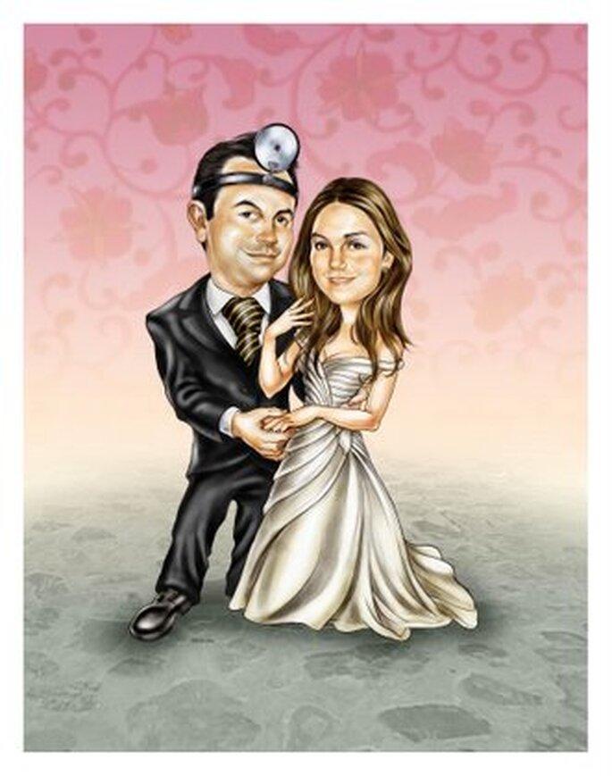 Un disegno comic di una coppia di sposi
