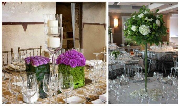 Centros de mesa, el primero con rosas teñidas (Foto- Mar de Flores) y el segundo con hortensia, rosa y feelong green (Foto- Floreale)