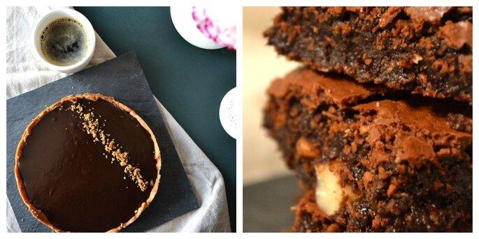 Tarte au chocolat noir sans gluten et recette de brownie chocolat noir noix de coco amandes entière par Délices Delicious
