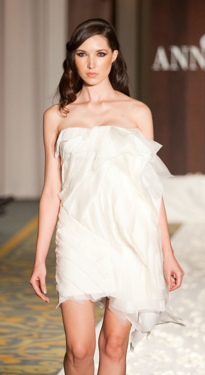 Morrigan, the Great Queen: Silk satin chiffon, organza, mesh in layers on gown, $1,600.