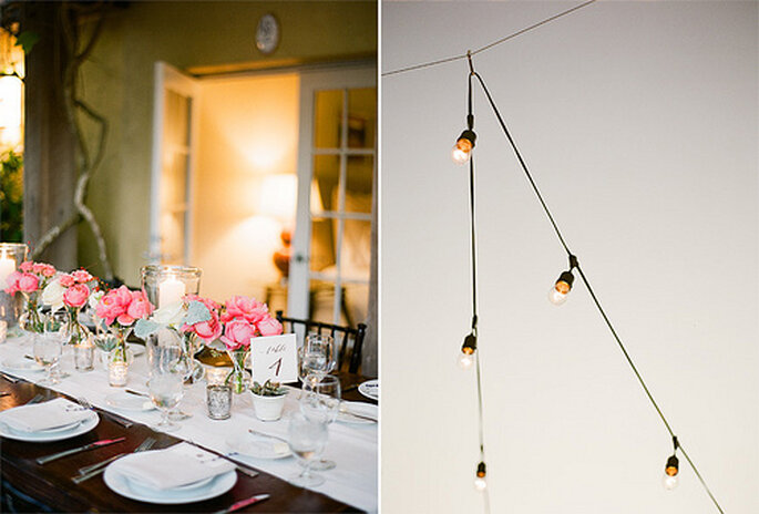 Centros de mesa para boda. Foto de KT Merry Photography.