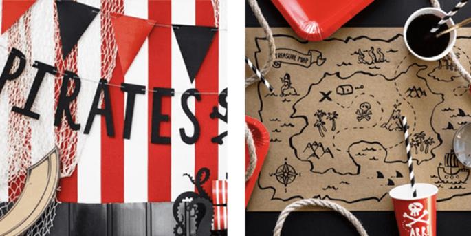 Guirlande pirates et Nappes à colorer 6 pièces