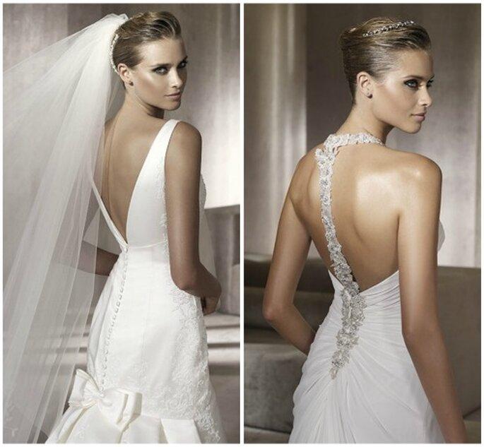Vestidos de novia con la espalda al descubierto, una de las tendencias para 2012. Foto: Rosa Clará