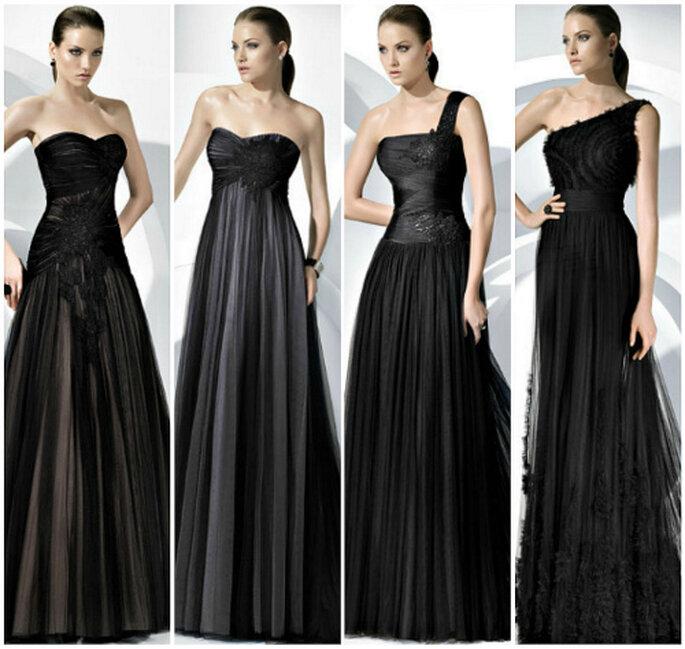 Vestidos de fiesta en color negro, de Pronovias 2011