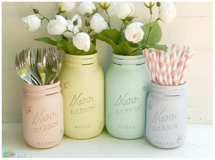 Décoration de mariage avec vases en cristal - Photo Beach blues