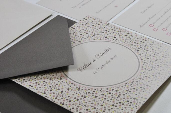Faire-part de mariage liberty rose poudré format carré 2013 pour l'Art du Papier - Crédit photo : l'Art du Papier