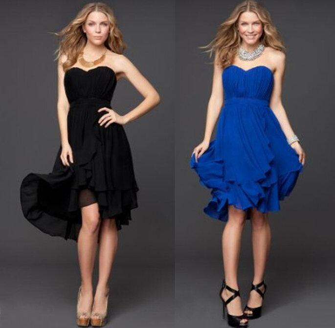 Vestidos para dama de boda de look casual en color negro y azul rey - Foto: Colección Rami Kashou para Bebe