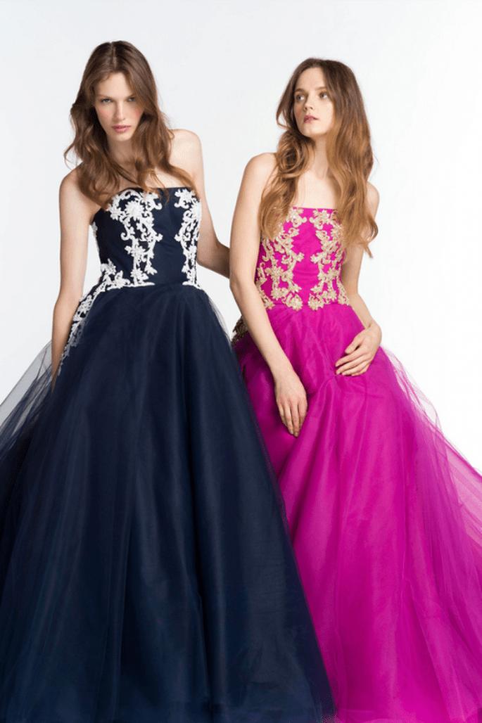Vestidos de fiesta 2014 en colores rosa intenso y azul marino con estampados de inspiración barroca - Foto Reem Acra
