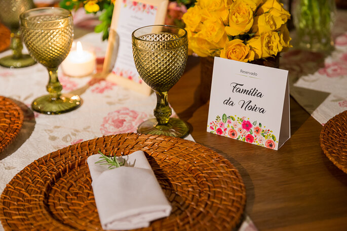 mesa para o casamento