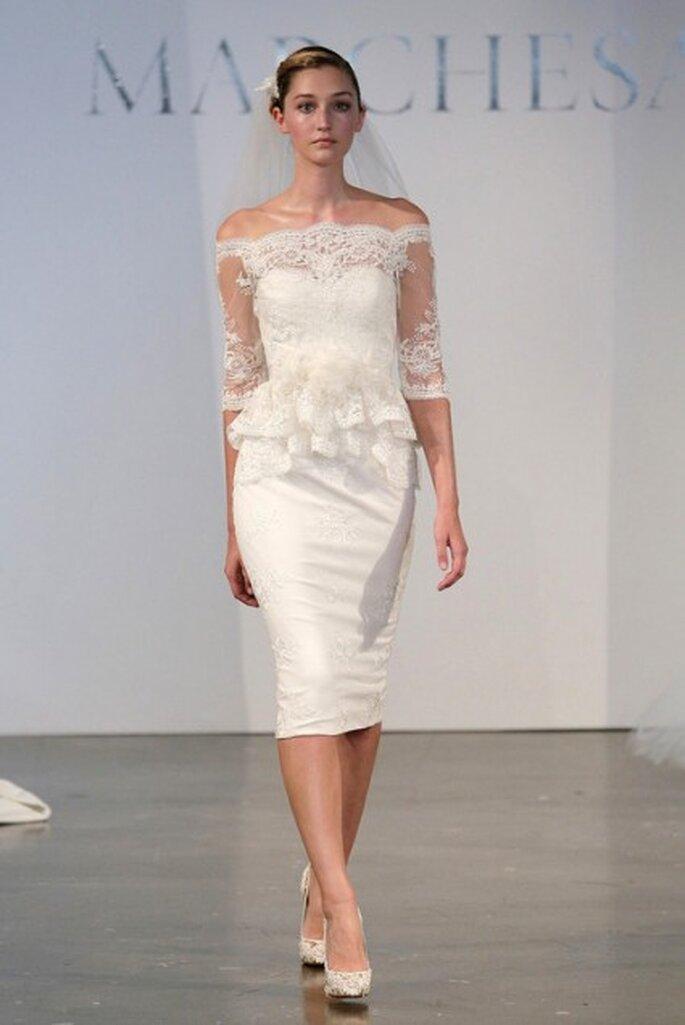 Krótka suknia ślubna z baskinką