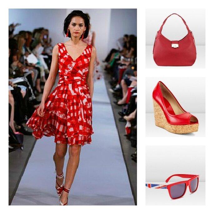 Per invitate che amano il rosso l'abito Oscar de La Renta e gli accessori Jimmy Choo sono perfetti. Foto: oscardelarenta.com e jimmychoo.com