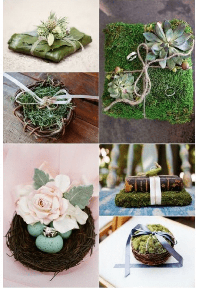 Porta anillos hechos a base de musgo - Fotos: stylemepretty.com