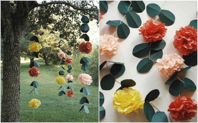 Guirnaldas de papel para decorar el jardín en tu boda. Fotos: www.oncewed.com
