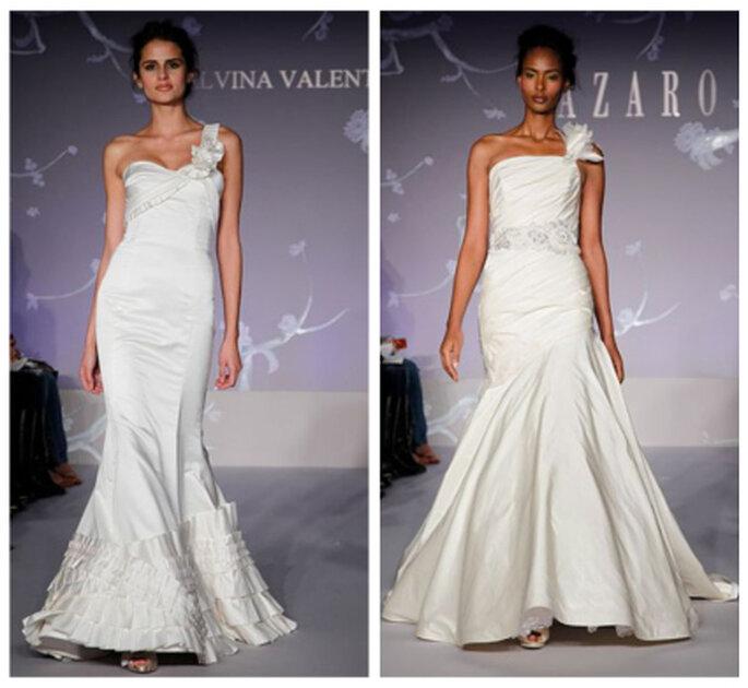 Más vestidos de novia con un solo tirante, propuestas de Alvina Valenta y Lazaro 2012