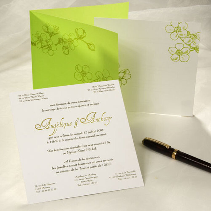 Faire part de mariage vert : sobre et élégant