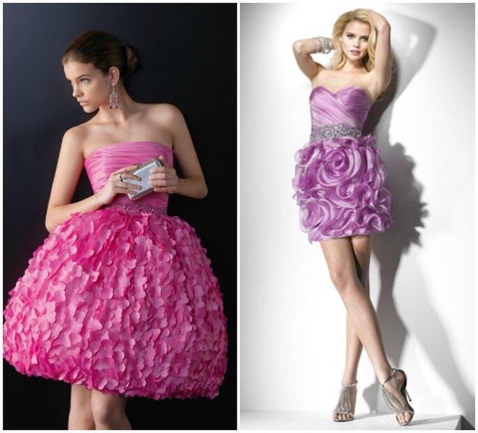 Gettonatissimi gli abiti con decorazioni floreali in 3D, soprattutto se in colori fluo. Come questi di Two by Rosa Clarà 2013 (a sinistra) e Flirt 2013 by Maggie Sottero.