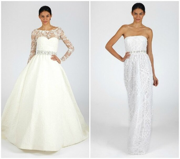 Due abiti con lavorazioni in pizzo e dettagli gioiello. Oscar de la Renta Fall 2013 Bridal Collection. Foto: www.oscardelarenta.com