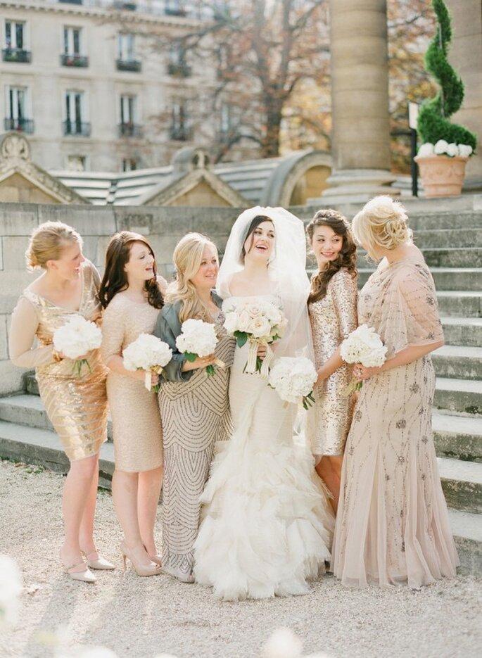 Cómo combinar los vestidos de tus damas de boda - KT Merry