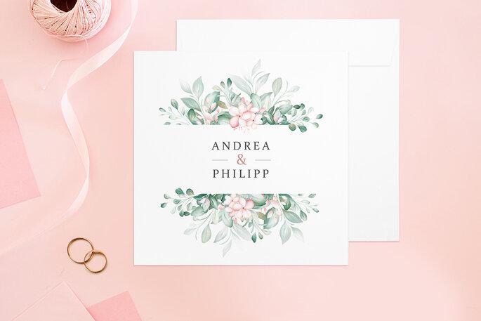 Hochzeitseinladung Design Rosenpracht Klappkarte quadratisch Paper Studio Zankyou