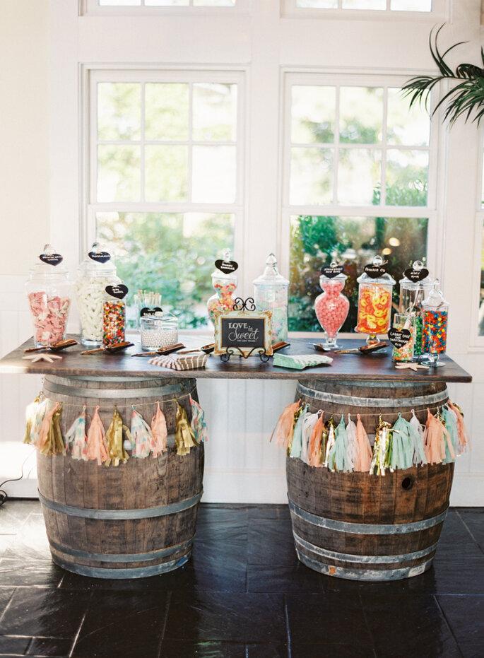 decoración con barriles - Vicki Grafton Photography