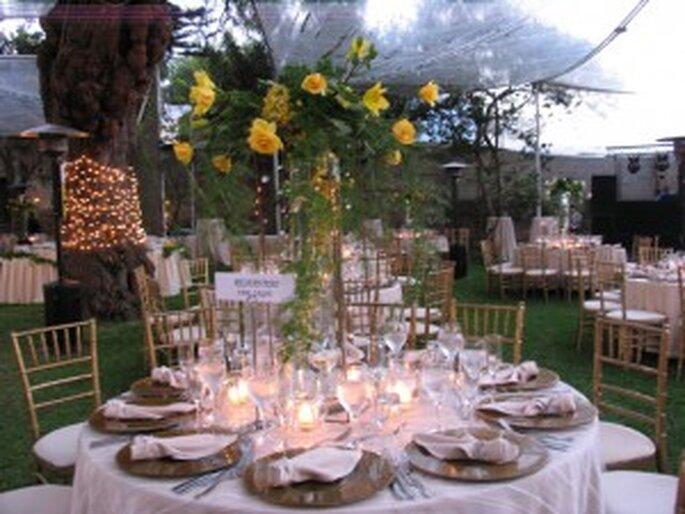 Para un festejo al aire libre, te recomiendo usar decoración muy natural, pueden ser flores