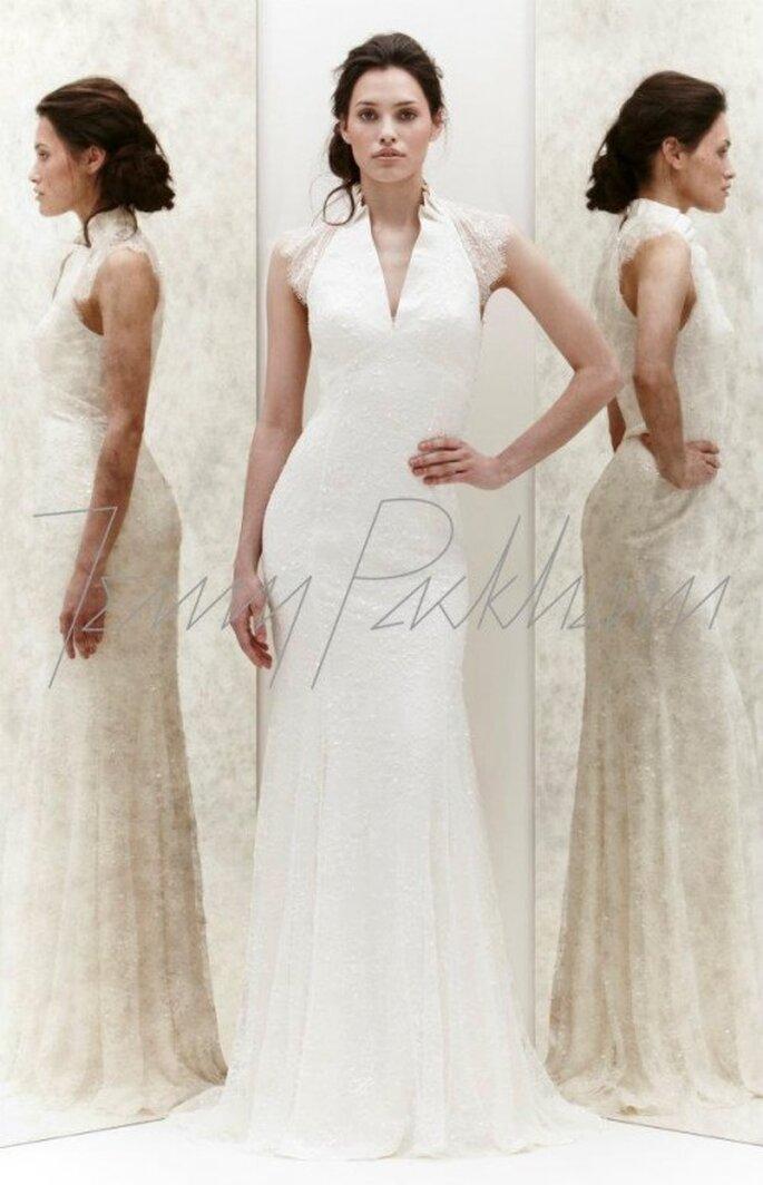 Vestido de novia con cuello y mangas de encaje - Foto Jenny Packham